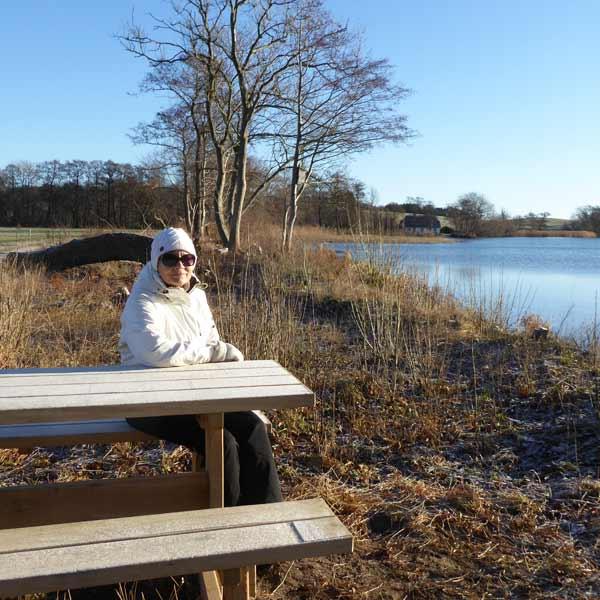"""Janne Aarre sidder på """"sin"""" bænk og nyder det smukke vintervejr i januar 2017."""